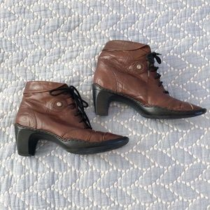 Josef Seibel Brown Leather Lace Up Heeled Ankle Booties